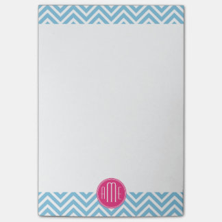 Magenta Pink Monogram with Light Blue Chevron Post-it® Notes