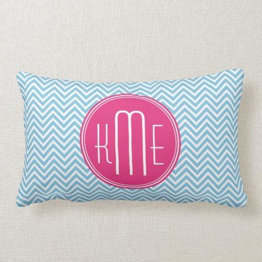Magenta Pink Monogram with Light Blue Chevron Throw Pillow Zazzle