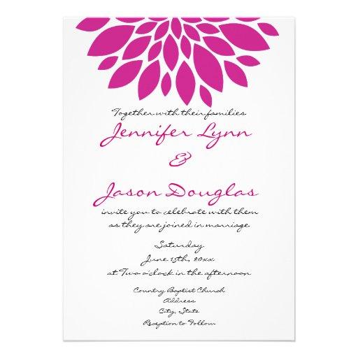 Magenta Pink Purple Flower Wedding Invitations