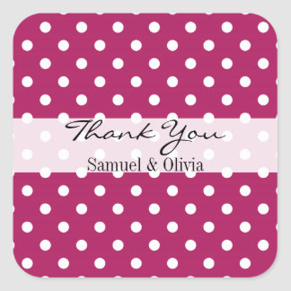 Magenta Pink Square Custom Polka Dotted Thank You Square Sticker