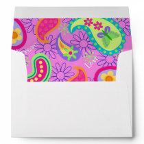 Magenta Pink Turquoise Modern Paisley Envelope