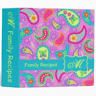 Magenta Pink Turquoise Modern Paisley Monogram 3 Ring Binder