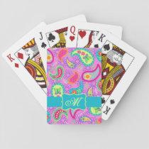 Magenta Pink Turquoise Modern Paisley Monogram Playing Cards