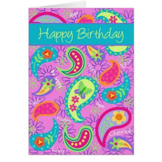 Magenta Pink Turquoise Modern Paisley Pattern Greeting Card