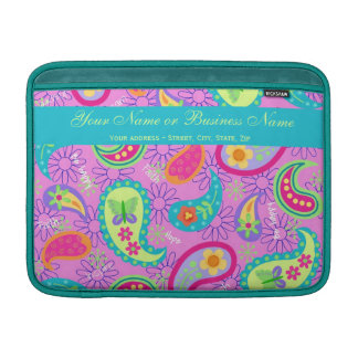 Magenta Pink Turquoise Modern Paisley Pattern Sleeve For MacBook Air