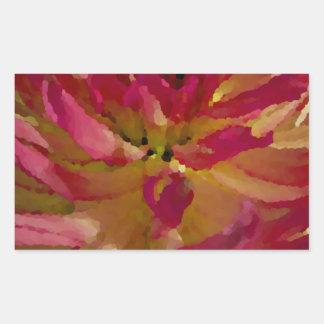 magenta, pinks, and white dahlia rectangular sticker