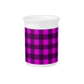 Magenta plaid pattern drink pitcher