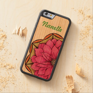 MAGENTA POINSETTIA Design Carved® Cherry iPhone 6 Bumper