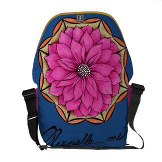 MAGENTA POINSETTIA Design Messenger Bag