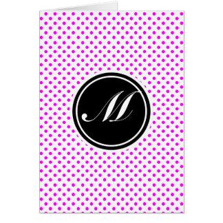 Magenta Polka Dot and Monogram Card