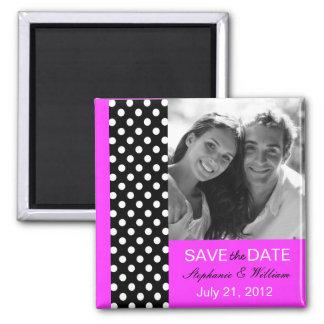 Magenta Polka Dot Photo Save The Date Magnet