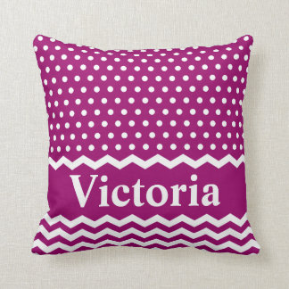 Magenta Polka Dots and Chevrons Throw Pillow