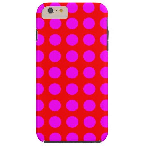 Magenta Polka Dots Tough iPhone 6 Plus Case