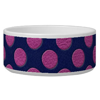 Magenta Polka Dots On Indigo Blue Leather Texture Bowl
