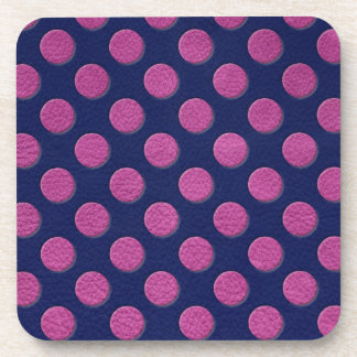 Magenta Polka Dots On Indigo Blue Leather Texture Drink Coaster