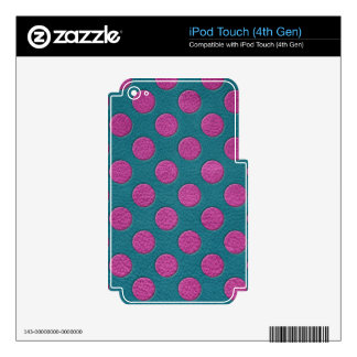 Magenta Polka Dots on Turquoise Leather Print iPod Touch 4G Decals