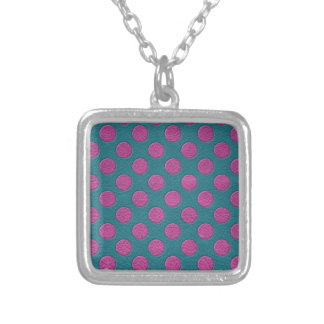 Magenta Polka Dots on Turquoise Leather Print Silver Plated Necklace