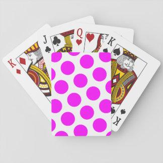 Magenta Polka Dots Playing Cards