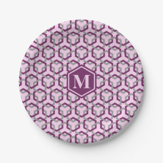 Magenta Purple and Gray Linked Hexes Paper Plate 7 Inch Paper Plate