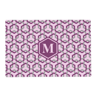 Magenta Purple and Gray Linked Hexes Placemat