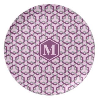 Magenta Purple and Gray Linked Hexes Plate