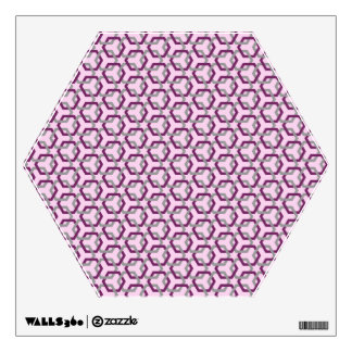Magenta Purple and Gray Linked Hexes Wall Decal