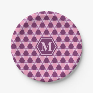 Magenta Purple and Pink Triangle-Hex Paper Plate 7 Inch Paper Plate