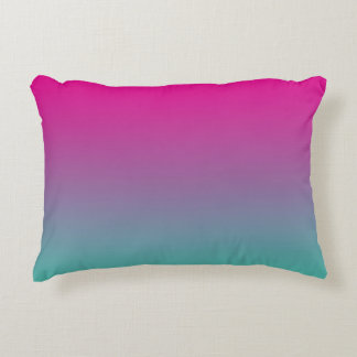 """Magenta Purple And Teal Ombre"" Decorative Pillow"