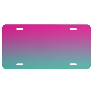 """""""Magenta Purple And Teal Ombre"""" License Plate"""