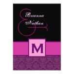 Magenta Purple Black Monogram Damask Template 5x7 Paper Invitation Card