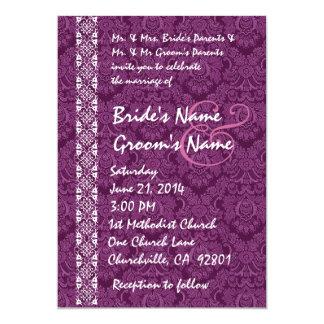 "Magenta Purple Damask Lace Wedding Invitations 5"" X 7"" Invitation Card"