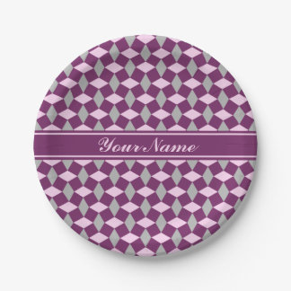 Magenta Purple/Gray/Pink Wavy Pattern Paper Plate 7 Inch Paper Plate