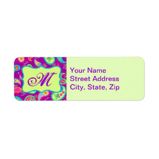 Magenta Purple Green Modern Paisley Monogram Label