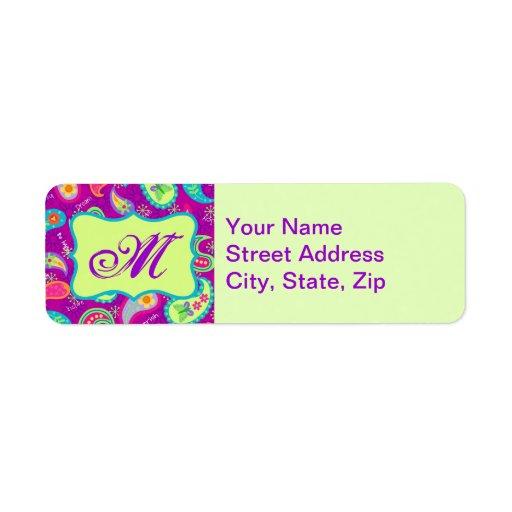 Magenta Purple Green Modern Paisley Monogram Return Address Label