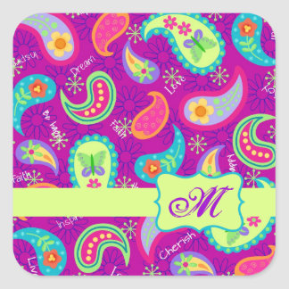 Magenta Purple Green Modern Paisley Monogram Square Sticker