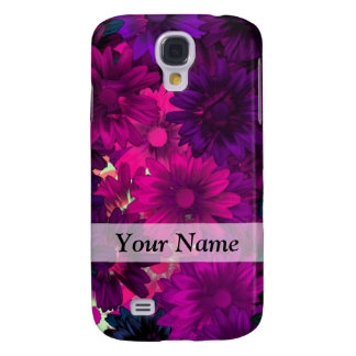 Magenta purple modern floral pattern galaxy s4 covers