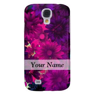 Magenta purple modern floral pattern samsung galaxy s4 case