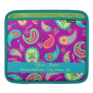 Magenta Purple Modern Paisley Colorful Graphic Sleeves For iPads
