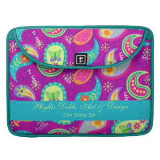 Magenta Purple Modern Paisley Colorful Graphic Sleeves For MacBooks