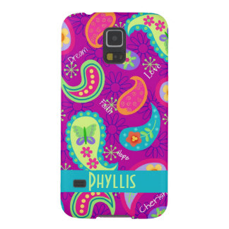 Magenta Purple Modern Paisley Whimsy Pattern Galaxy S5 Cover