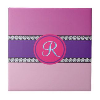 Magenta Purple Pink Mauve Girly Monogram Initial Ceramic Tile