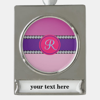 Magenta Purple Pink Mauve Girly Monogram Initial Silver Plated Banner Ornament