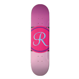 Magenta Purple Pink Mauve Girly Monogram Initial Skateboard