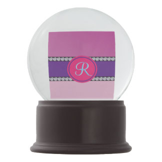 Magenta Purple Pink Mauve Girly Monogram Initial Snow Globe