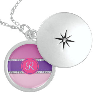 Magenta Purple Pink Mauve Girly Monogram Initial Sterling Silver Necklace