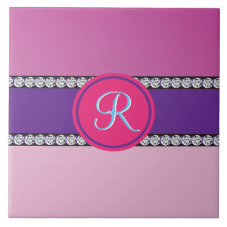 Magenta Purple Pink Mauve Girly Monogram Initial Tile