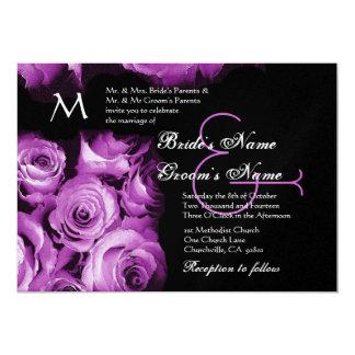 "Magenta Purple Roses Wedding Invitation Metallic 5"" X 7"" Invitation Card"