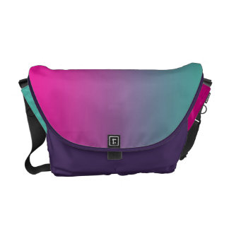 Magenta Purple & Teal Ombre Courier Bag