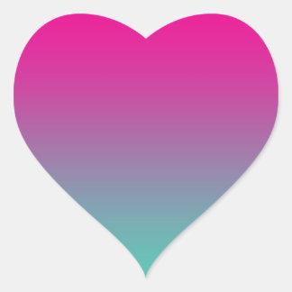 Magenta Purple & Teal Ombre Heart Sticker