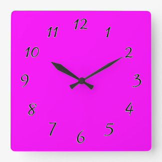 magenta purple template to personalize Customize Square Wall Clock